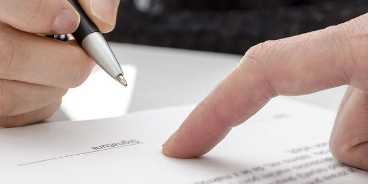 Unterschrift Vertrag